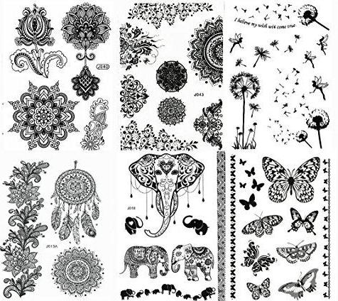 (Pack of 6) Black Henna Temporary Tattoo