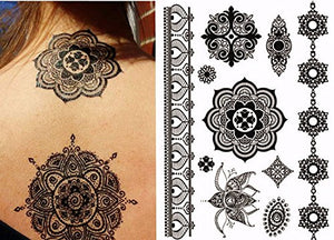 Black Henna Body Paints Temporary Tattoos (Set 6 Sheets)
