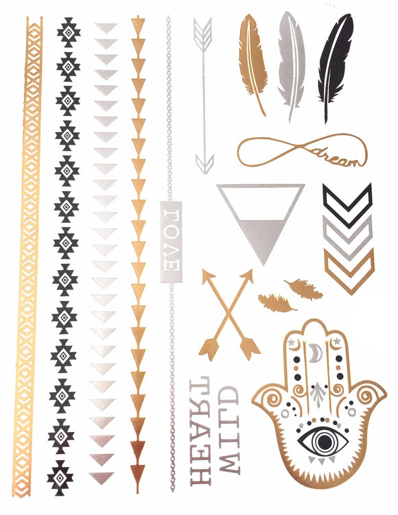 Bohemian Feather Metallic Tattoos