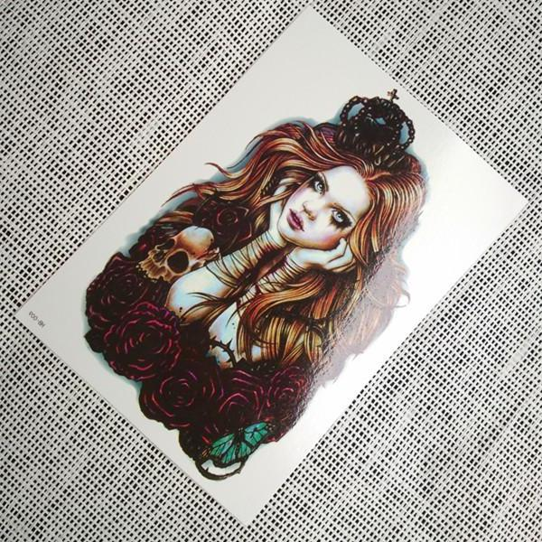 Vintage Large Temporary Tattoo Lady Queen [Color]