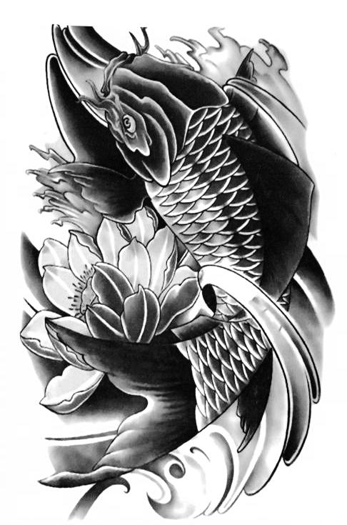 Koi Fish Temporary Tattoo [Black] Large Fake Tattoo