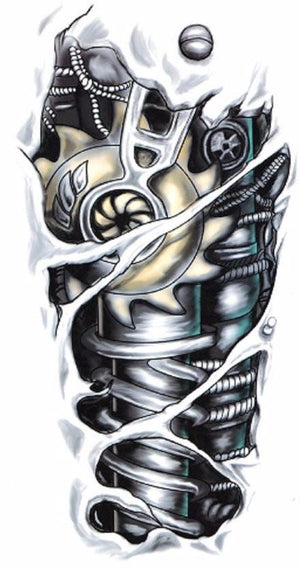 3D Mechanic Large Temporary Tattoo