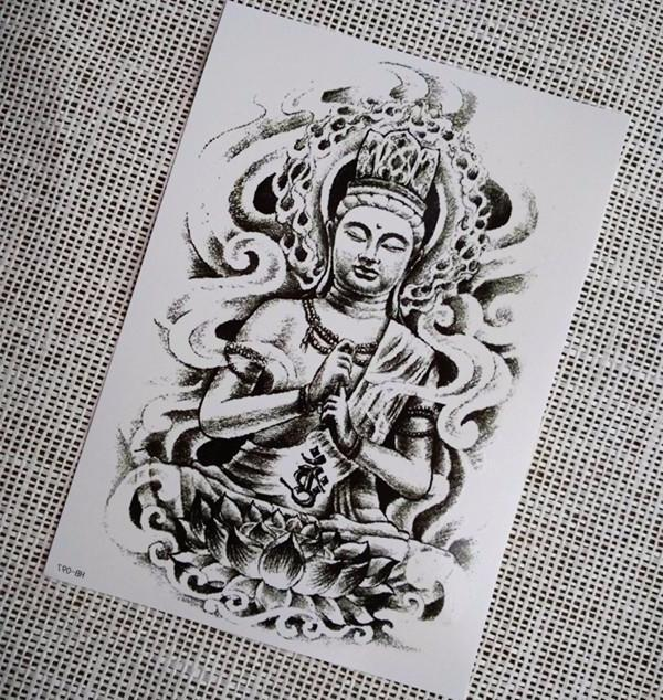 Buddha Temporary Tattoo - Large Black Tattoo