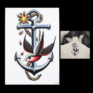 Vintage Anchor/Swallow Bird Body Art Temporary Tattoo