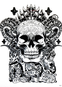 Geometric Realistic Skull Temporary Tattoo Large [Black]