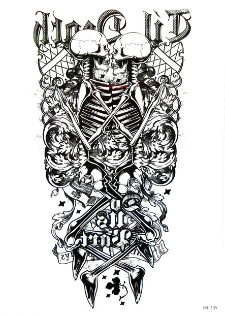 Large Skull Totem Temporary Tattoo [Black]