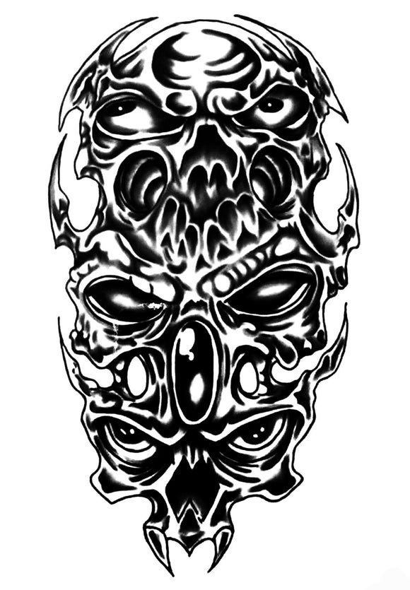 Skull Alien Black Demon Eyes Temporary Tattoos