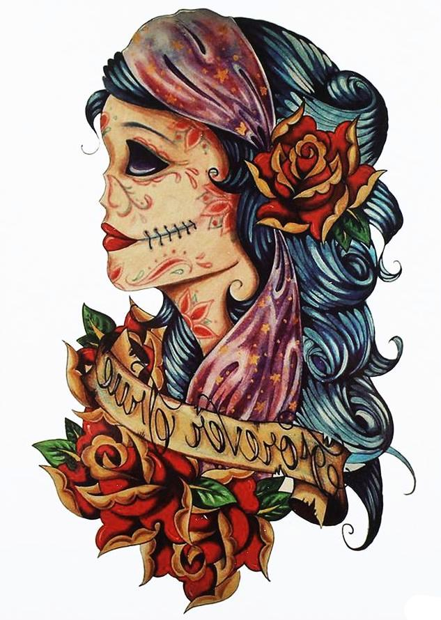 Vintage  Large Temporary Tattoo Skull Roses [Color]