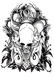 Realistic Skull Temporary Tattoo Large [Black] King Skull