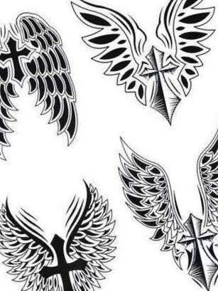Christian Catholic Angel Wings Black [4 in 1] Temporary Tattoos
