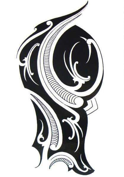 Arm Tribal Large Black Temporary Tattoo