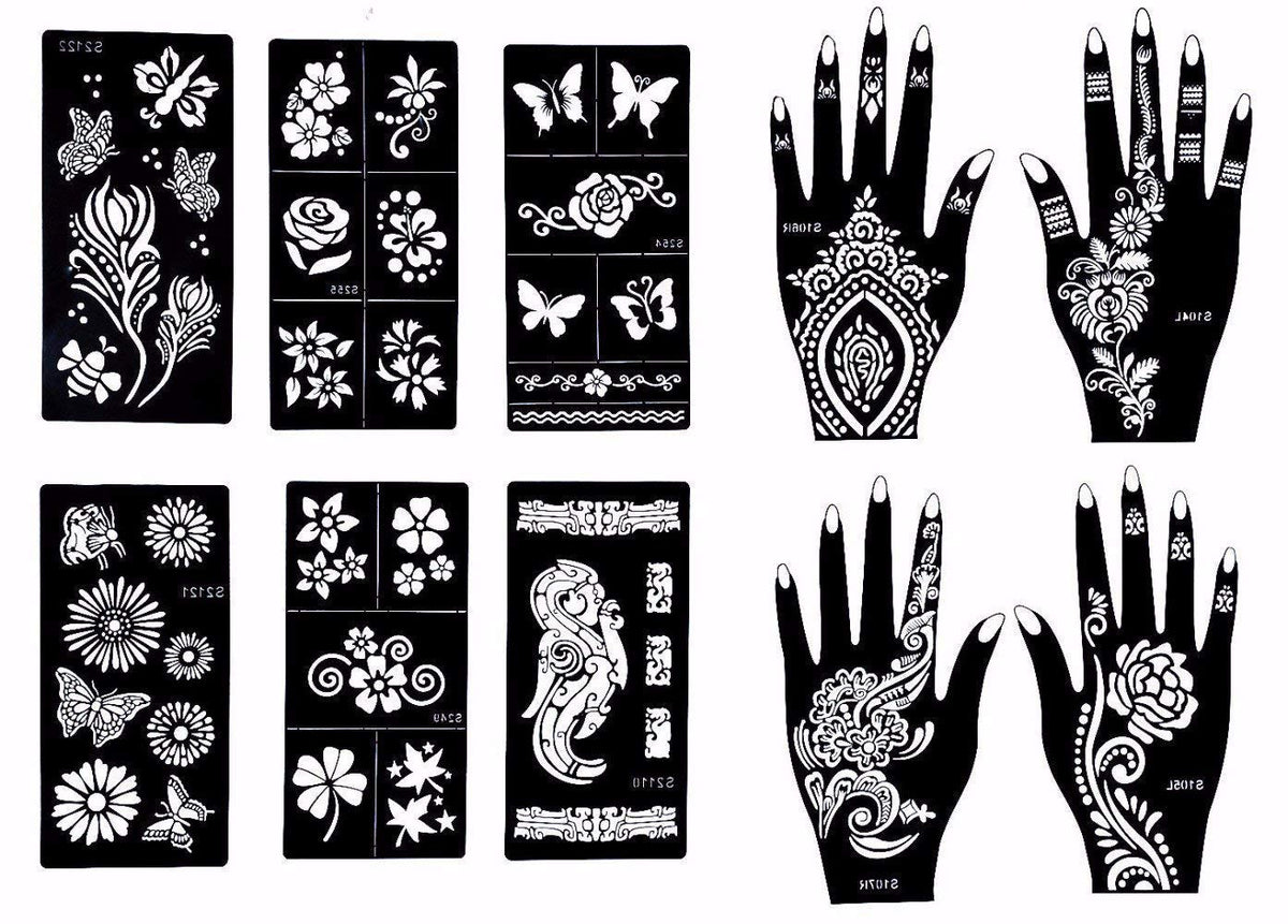 Stencils for Henna Tattoos (10 Sheets) Self-Adhesive Body Art Temporary Tattoo