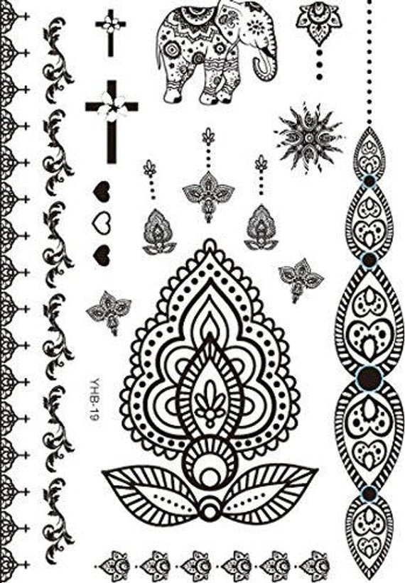 Mandala Mehendi Henna inspired Temporary Tattoos