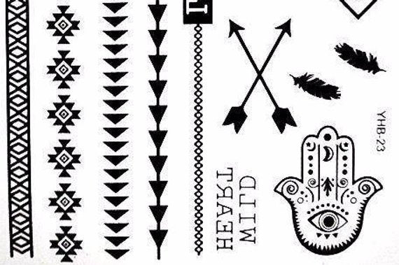 Bohemian Tattoo / Black Temporary Tattoos