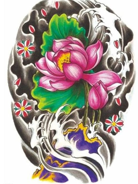 Lotus Flower - Temporary Tattoo Vintage Floral Tattoo