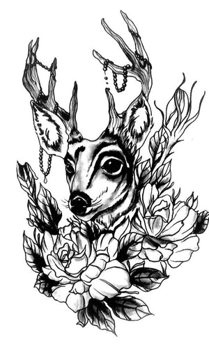 Deer Black ink Temporary Tattoo Flowers Realistic Tattoo