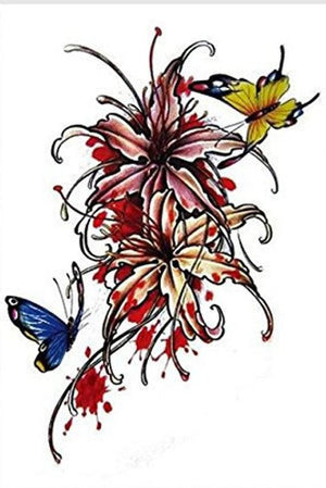 Butterfly Floral Color Large Temporary Tattoos