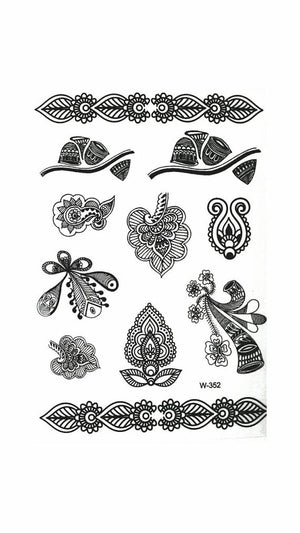 Mandalas Temporary Black Tattoo Henna inspired - Indian designs