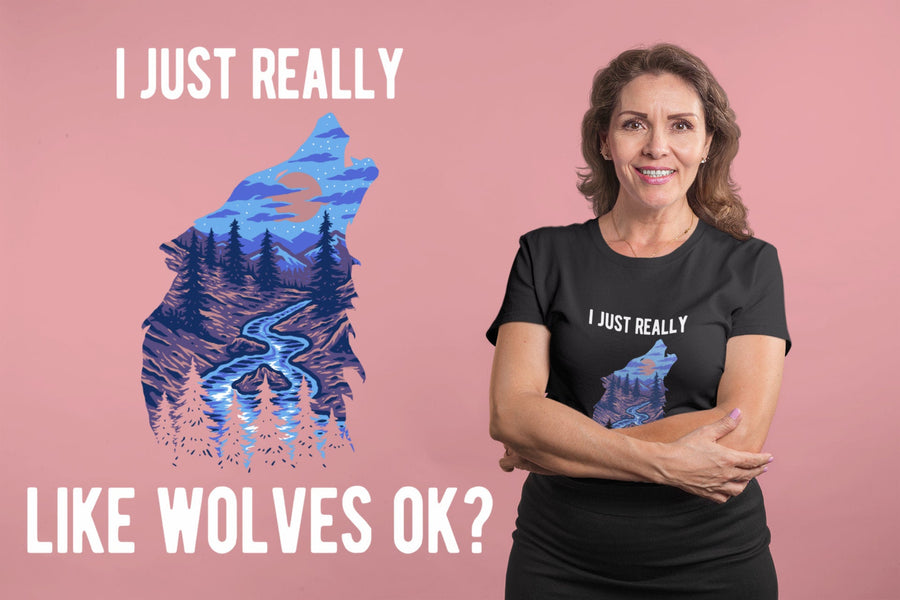Wolf Shirt I Just Really Like Wolves Ok Wolf Lover Gift Short-Sleeve Unisex T-Shirt