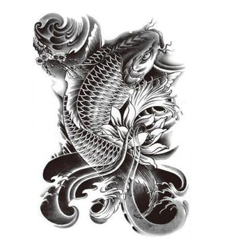 Large Koi Fish Temporary Tattoo [Black]