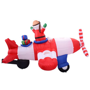 Christmas Xmas Santa Claus on Airplane Decoration 8 ft Inflatable