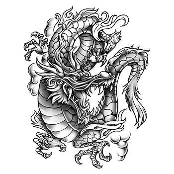 Large Black Dragon Temporary Tattoo