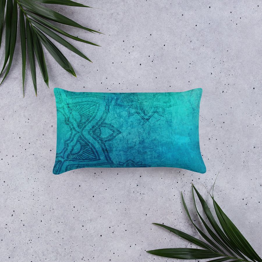 Mandala Turquoise All-Over Print Basic Pillow Case w/ stuffing