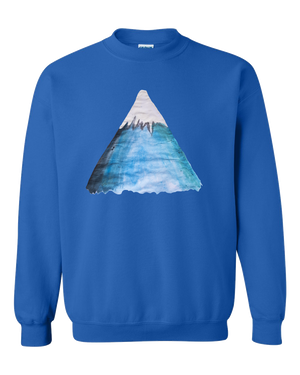 Snowy Mountain Water Color Adult Unisex  Crewneck Sweat Shirt