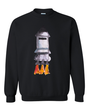 Spaceship Water Color Adult Unisex Crewneck Sweat Shirt