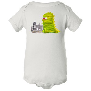 Baby Onesies -  Dinosaur in the City Water Color  Unisex Body Suit Design - Kids' Clothing