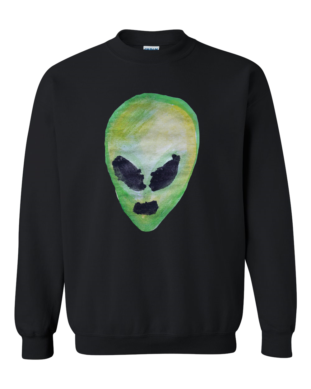 Alien Face Color Adult Crewneck Sweat Shirt