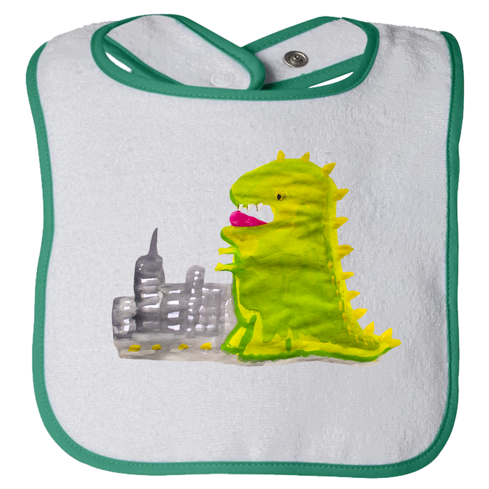 Baby Bib - Dinosaur in the City Watercolor Unisex Design