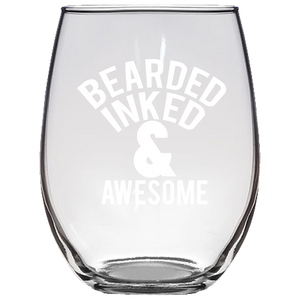 Bearded Inked & Awesome Stemless Wine Glass Laser Etched