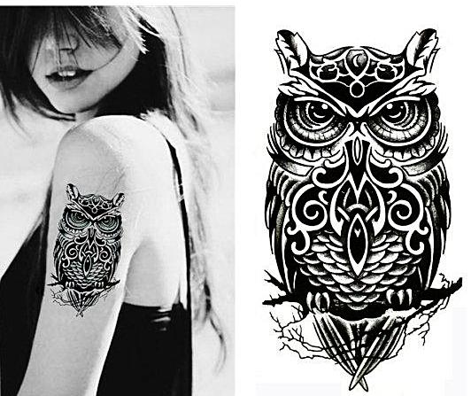 Large Owl Temporary Tattoo [Black]