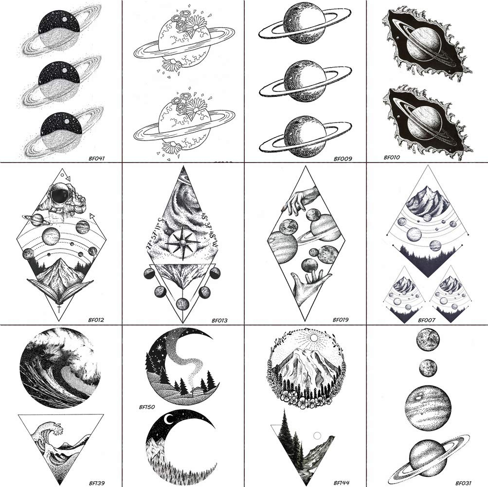 Set of 12 Pieces Geometry Moon/Planets Temporary Tattoos