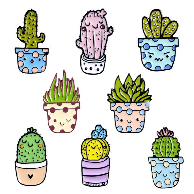 Potted Plant Enamel Pins Custom Cactus Aloe