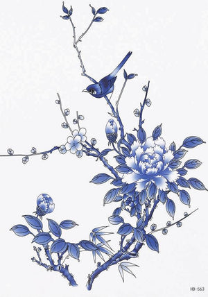 Blue Flower / Birds Temporary Tattoo