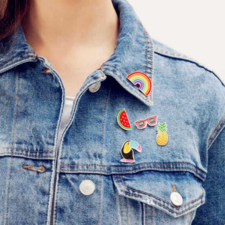 Pineapple/ Toucan /Rainbow/ Lips/ Juice /Flamingo/ Watermelon /Hat/ Guitar /Pins Brooch