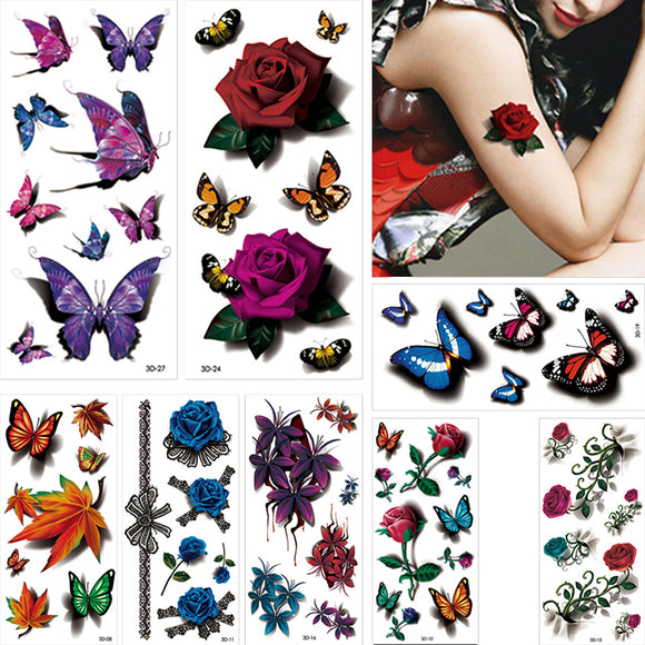 Set 8 Pieces Colorful 3D Temporary Tattoo Sticker