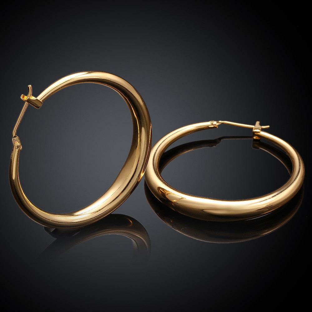 Italian-Made 18K Gold Plated French Lock Hoop Earrings