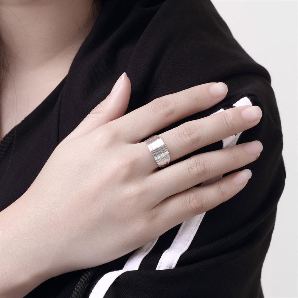 Stacked Layers Ring Adjustable in White Gold Plated