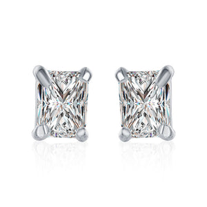 Swarovski Crystal Stud Rectangle diamond cut Earring in White Gold Plated