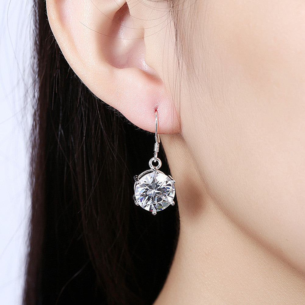 Snowflake Drop Earring in White Gold Plated