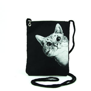 Peeking Cat Crossbody Pouch in Polyester