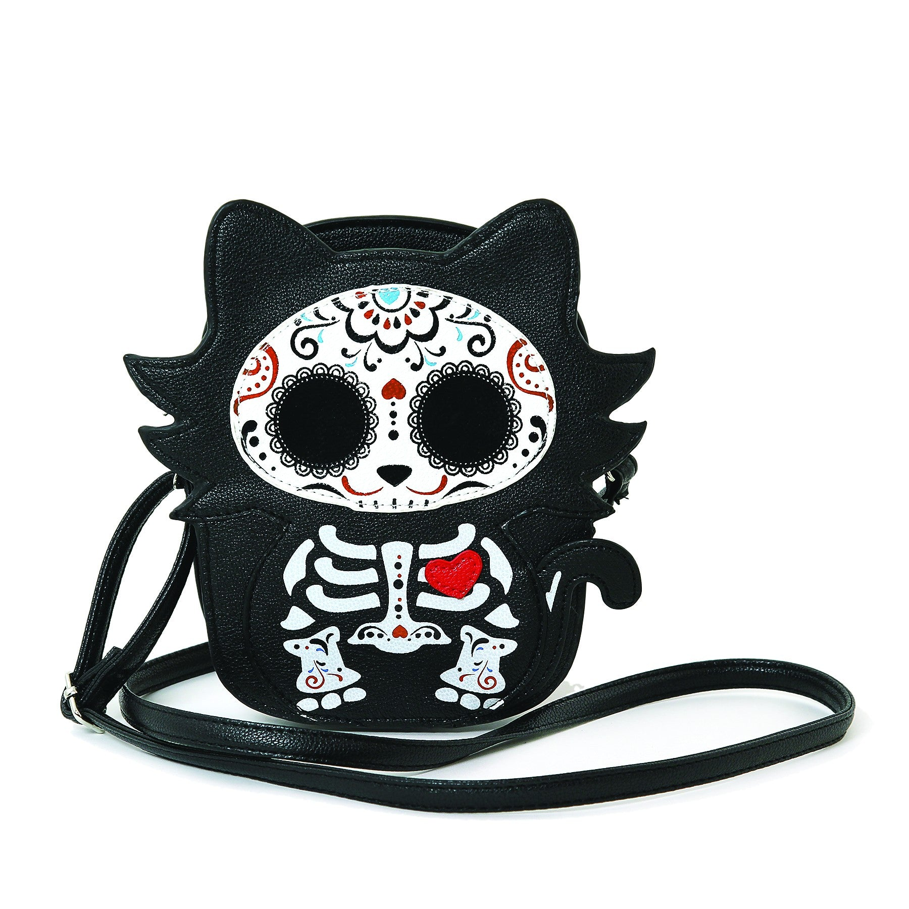 Tattooed Skeleton Cat With A Heart Shoulder Crossbody Bag