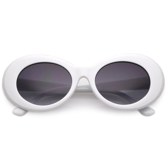 Retro White Oval Sunglasses With Tapered Arms Neutral Colored Gradient Lens 50mm
