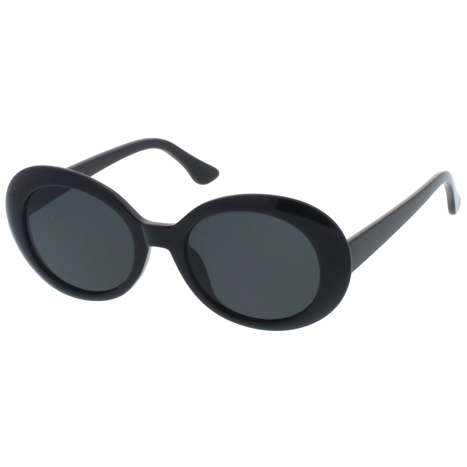 Retro Oval Sunglasses Tapered Arms Neutral Colored Round Lens 53mm (White / Smoke)