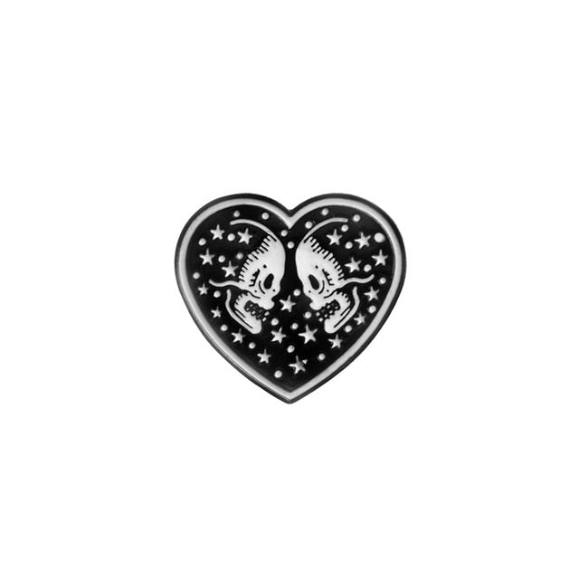 Punk Collection Enamel Pins Dark Black Brooch