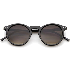 Retro Horn Rimmed Keyhole Nose Bridge P3 Round Sunglasses 48mm (Shiny Brown-Tortoise / Brown)