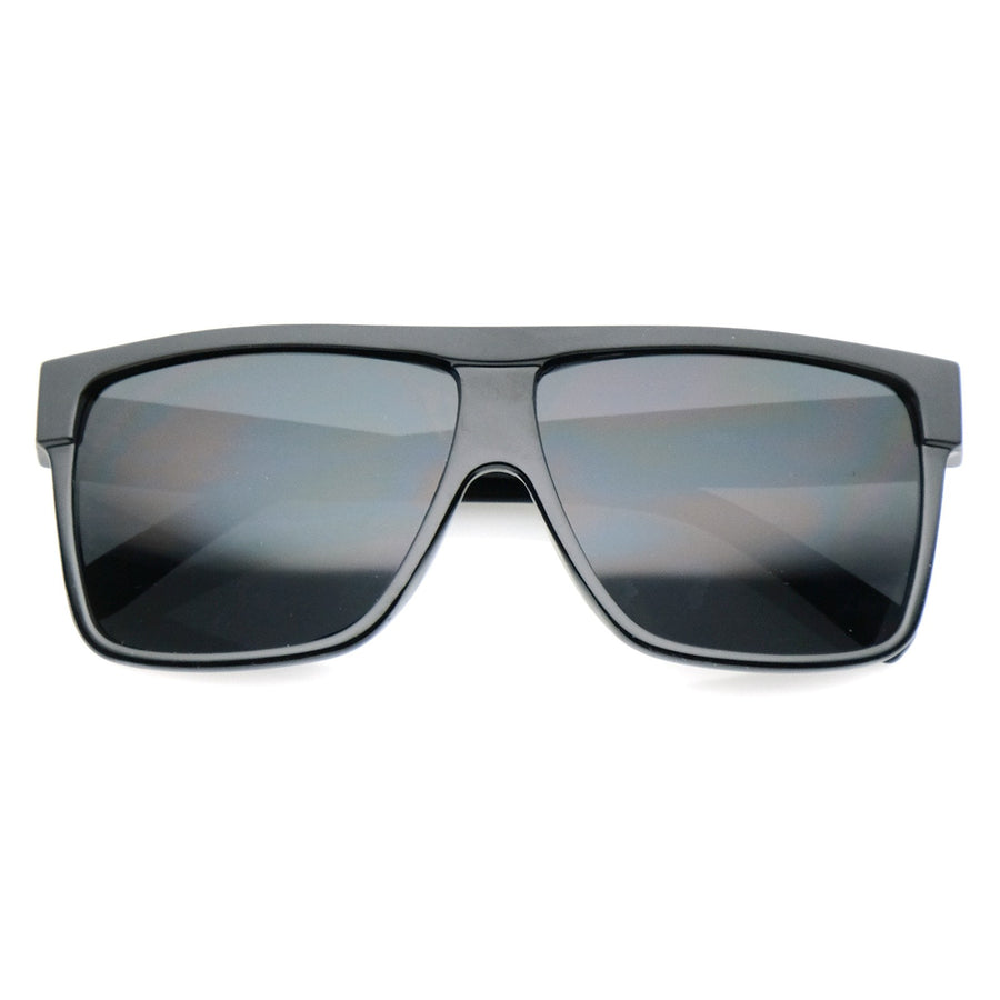Oversize Flat Top Wide Temples Square Aviator Sunglasses 61mm (Matte Black / Smoke)